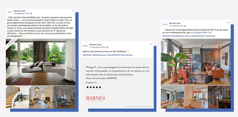 Exemple de posts Facebook pour BARNES Lyon