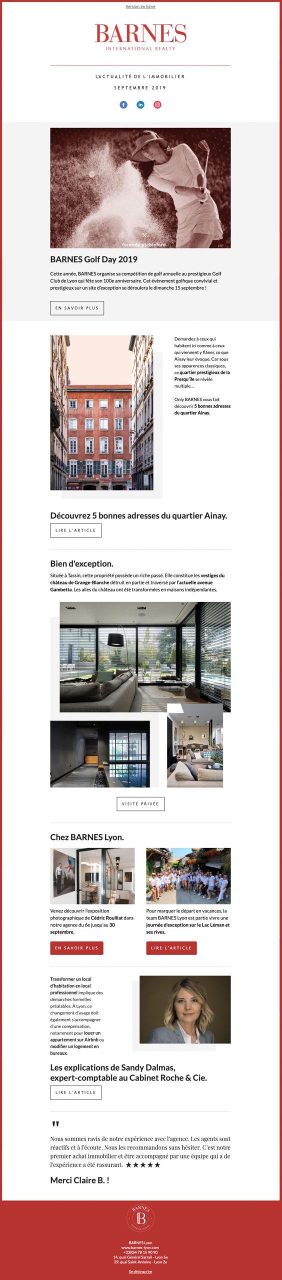 Exemple de la réalisation d'une newsletter pour BARNES Lyon