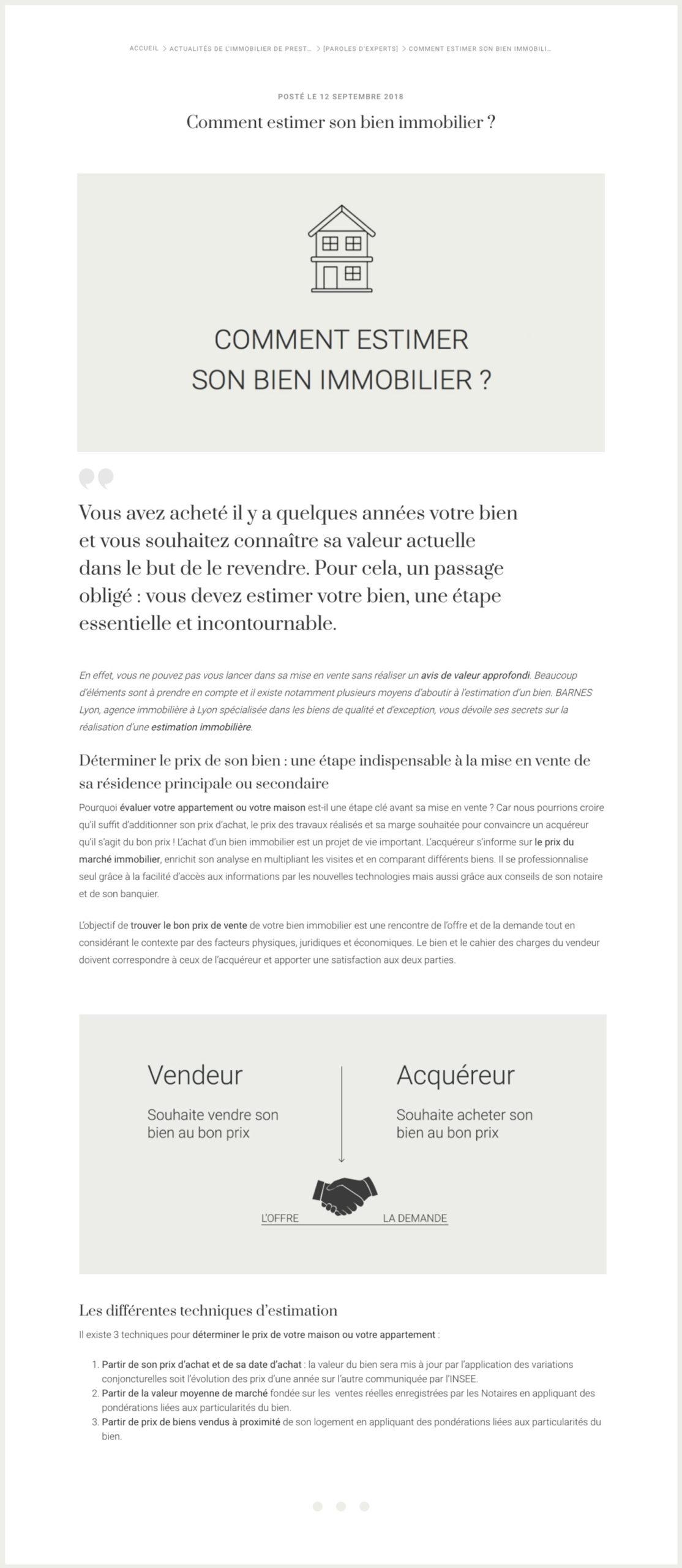 Exemple de rédaction de contenu web pour BARNES Lyon