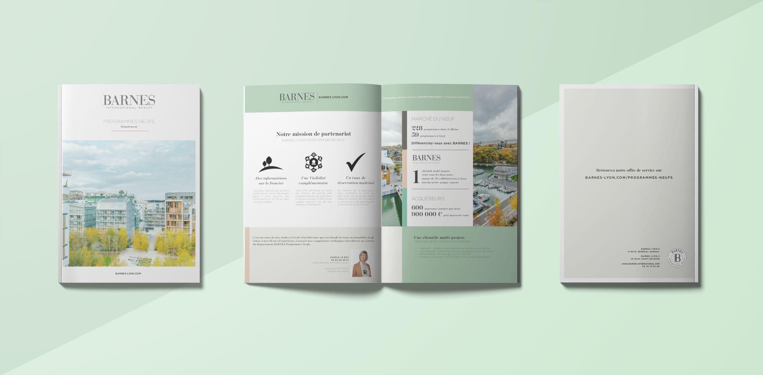 création d'une brochure commerciale pour Barnes Lyon